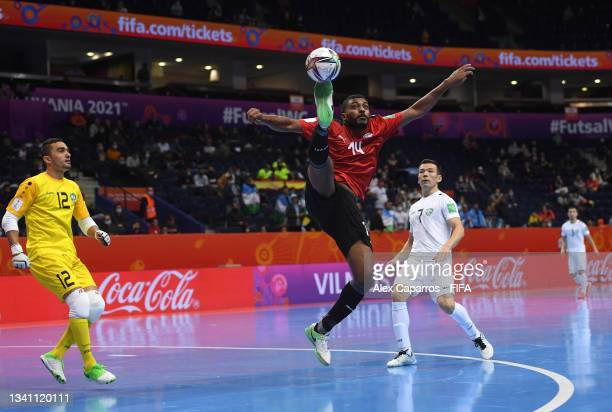 Koki of Egypt jumps for the ball during the FIFA Futsal World Cup 2021 group B match between Egypt and Uzbekistan at Vilnius Arena on September 18,...