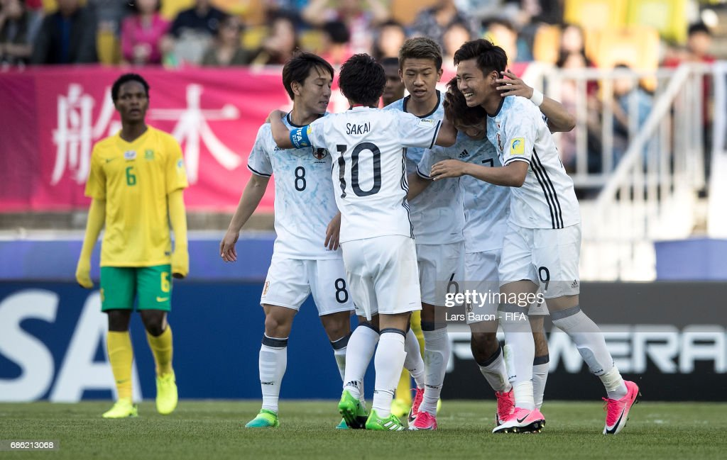 Koki Ogawa of Japan celebrates after scoring his teams first goal during the FIFA U-20 World Cup Korea Republic 2017 group D match between South Africa and Japan at Suwon World Cup Stadium on May 21, 2017 in Suwon, South Korea.