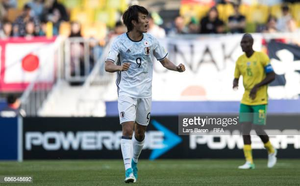 Koki Ogawa of Japan celebrates during the FIFA U20 World Cup Korea Republic 2017 group D match between South Africa and Japan at Suwon World Cup...