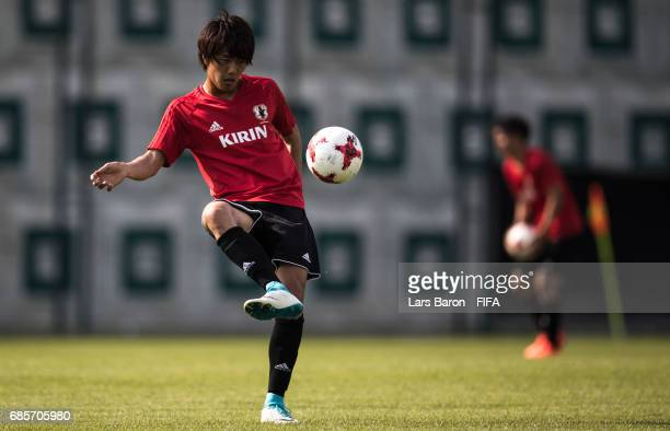 Koki Ogawa of Japan kicks the ball during a Japan training session for the FIFA U20 World Cup Korea Republic at Suwon World Cup Stadium Auxiliary...