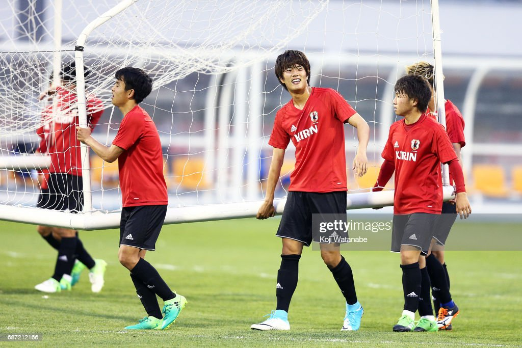Koki Ogawa (C) of Japan looks on during a training session ahead of the FIFA U-20 World Cup Korea Republic 2017 group D match against Uruguay on May 23, 2017 in Suwon, South Korea.