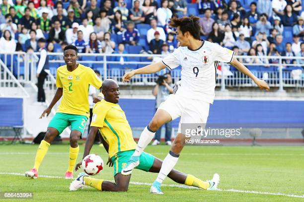 Koki Ogawa of Japan scores his first goal during the FIFA U20 World Cup SKorea Republic 2017 group D match between South Africa and Japan at Suwon...