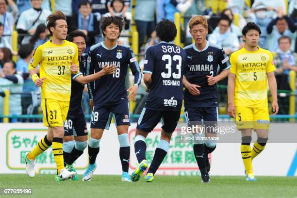 Koki Ogawa of Jubilo Iwata celebrates scoring his team`s second goal during the JLeague Levain Cup Group A match between Kashiwa Reysol and Jubilo...