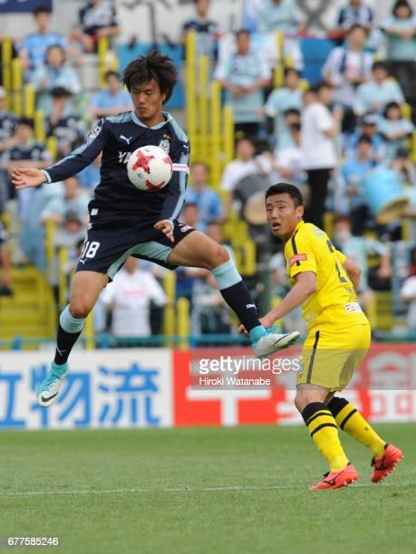 Koki Ogawa of Jubilo Iwata in action during the JLeague Levain Cup Group A match between Kashiwa Reysol and Jubilo Iwata at Hitachi Kashiwa Soccer...