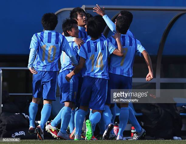 Koki Ogawa of Toko Gakuen celebrates scoring his team's first goal during the 94th All Japan High School Soccer Tournament third round match between...