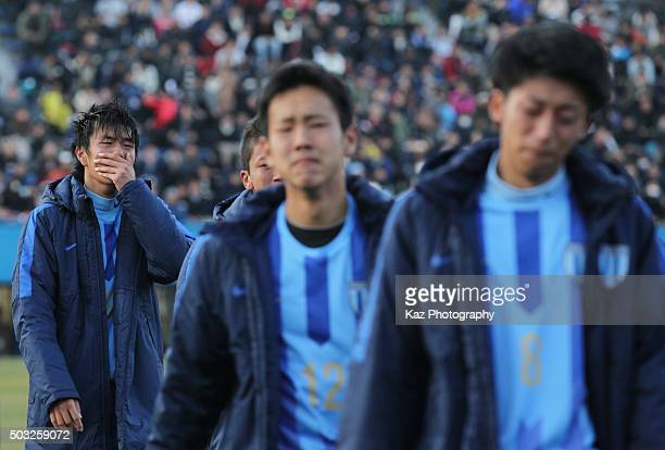 Koki Ogawa of Toko Gakuen sheds tears after his team's defeat through the penalty shootout in the 94th All Japan High School Soccer Tournament third...