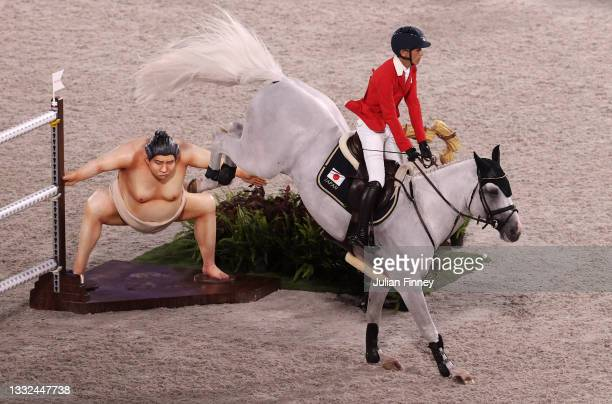 Koki Saito of Team Japan riding Chilensky competes during the Jumping Individual Final on day twelve of the Tokyo 2020 Olympic Games at Equestrian...