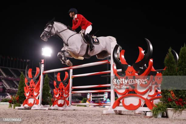 Koki Saito of Team Japan riding Chilensky competes in the Equestrian Jumping Individual Final on day twelve of the Tokyo 2020 Olympic Games at...