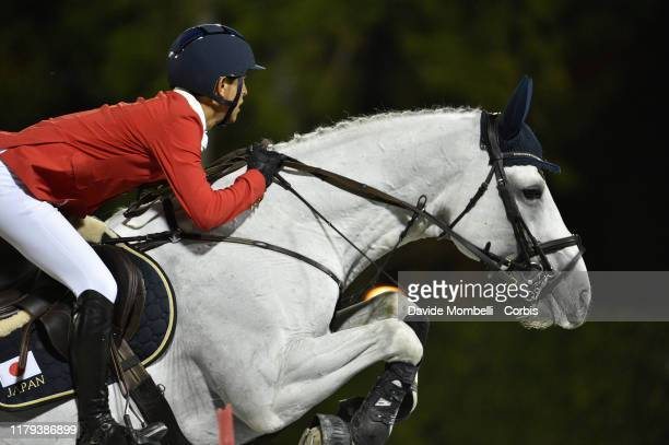 Koki Saito riding Chilensky of Japan during Longines FEI Jumping Nations Cup Final Challenge Cup on October 5 2019 in Barcelona Spain