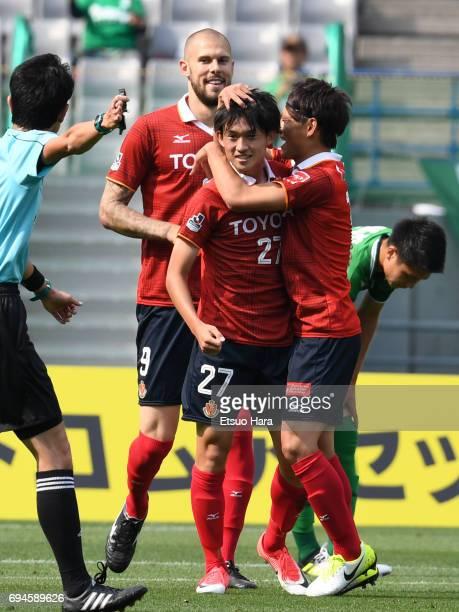 Koki Sugimori of Nagoya Grampus celebrates scoring his team's first goal during the J.League J2 match between Tokyo Verdy and Nagoya Grampus at...