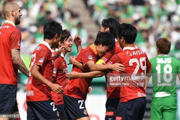 Koki Sugimori of Nagoya Grampus celebrates the first goal during the J.League J2 match between Tokyo Verdy and Nagoya Grampus at Ajinomoto Stadium on...