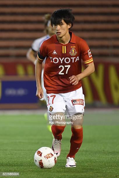 Koki Sugimori of Nagoya Grampus dribbles the ball during the J.League Yamazaki Nabisco Cup match between Nagoya Grampus and Ventforet Kofu at the...
