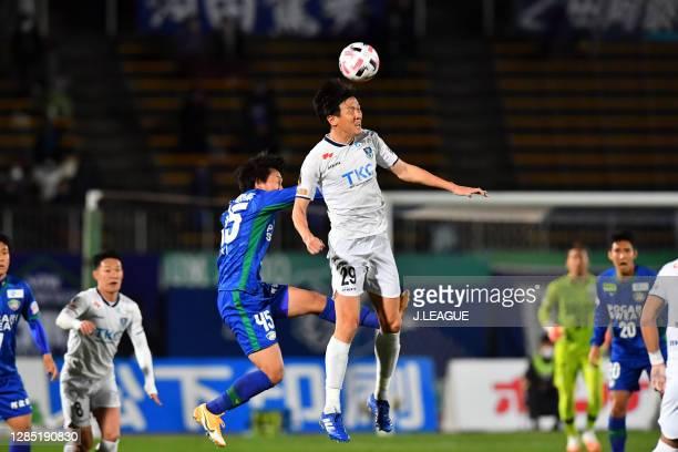 Koki SUGIMORI of Tokushima Vortis and Kisho YANO of Tochigi SC battle for the ball during the J.League Meiji Yasuda J2 match between Tokushima Vortis...