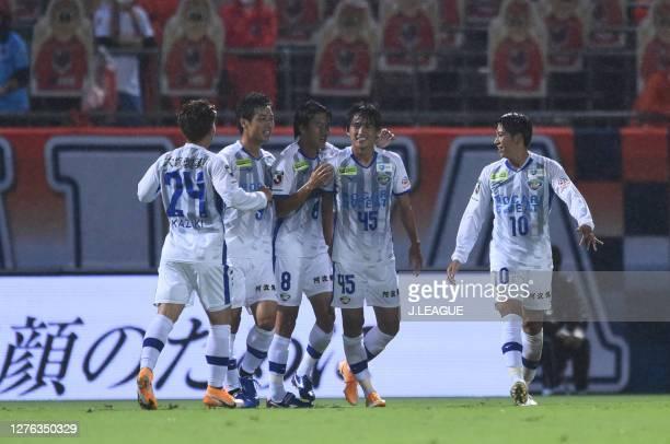 Koki SUGIMORI of Tokushima Vortis celebrates scoring his side's first goal during the J.League Meiji Yasuda J2 match between Omiya Ardija and...