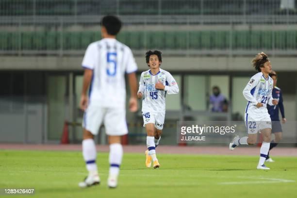 Koki SUGIMORI of Tokushima Vortis celebrates scoring his side's first goal during the J.League Meiji Yasuda J2 match between Thespa Kusatsu Gunma and...