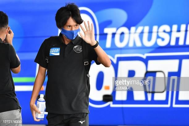 Koki SUGIMORI of Tokushima Vortis is seen on arrival at the stadium prior to the J.League Meiji Yasuda J2 match between Tokushima Vortis and Zweigen...