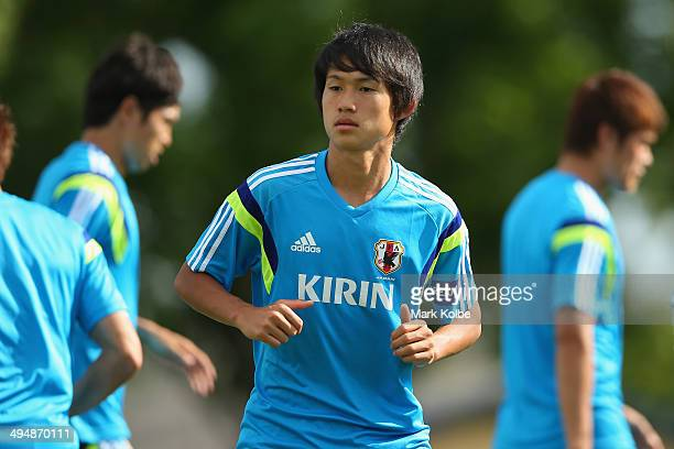 Koki Sugimori runs drills during a Japan training session at North Greenwood Recreation & Aquatic Complex on May 30, 2014 in Clearwater, Florida.