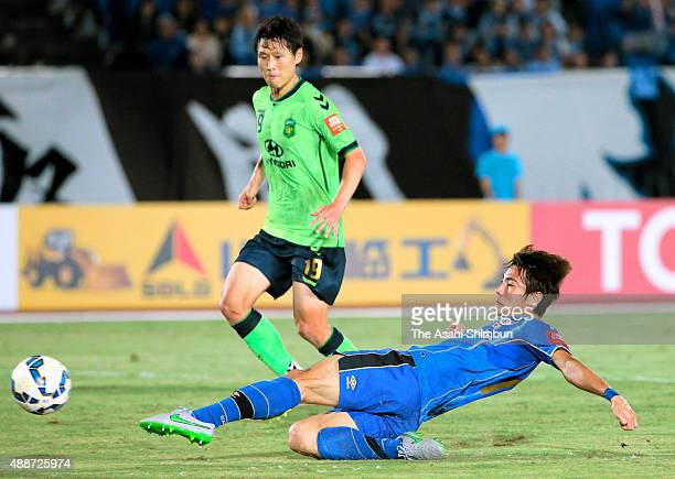 Koki Yonekura of Gamba Osaka scores his team's third goal during the AFC Champions League quarter final match between Gamba Osaka and Jeonbuk Hyundai...