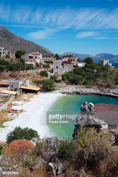 kokkala, cove, bay, mani, laconia, peloponnese, greece - peloponnese stock photos and pictures