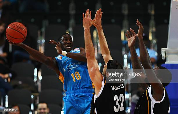 Koko Archibong of Giants tries to get through Tigers defence during the Beko Basketball Bundesliga game between Giants Duesseldorf and Walter Tigers...