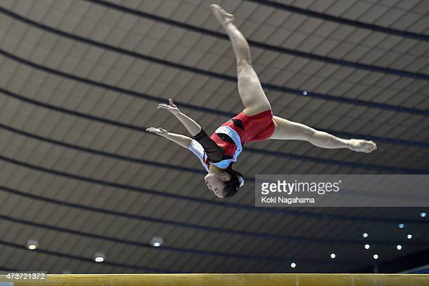 Koko Tsurumi competes on the balanceBeam during the Artistic Gymnastics NHK Trophy at Yoyogi National Gymnasium on May 17 2015 in Tokyo Japan