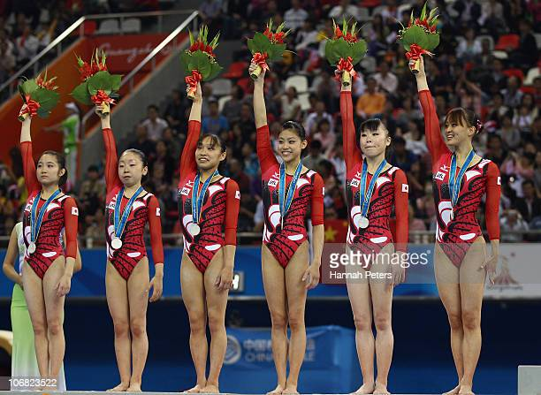 Koko Tsurumi Mai Yamagisgi Kyoko Oshima Yuko Shintake Momoko Ozawa and Rie Tanaka of Japan celebrate winning silver after competing in the Women's...
