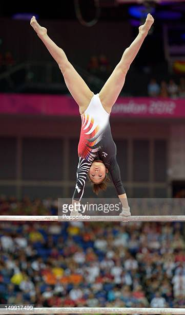 Koko Tsurumi of Japan competes in the Artistic Gymnastics Women's Uneven Bars final on Day 10 of the London 2012 Olympic Games at North Greenwich...