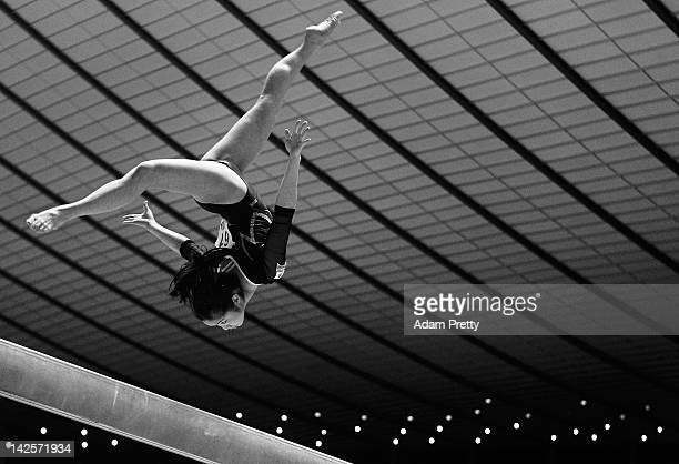 Koko Tsurumi of Japan competes on the Balance Beam during day two of the 66th All Japan Artistic Gymnastics All Around Championships at Yoyogi...