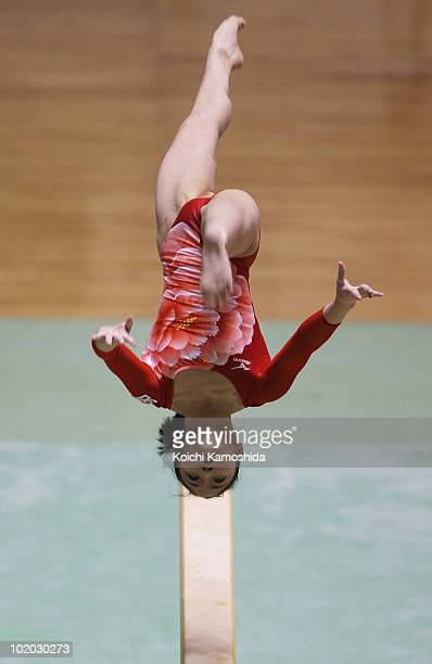 Koko Tsurumi of Japan competes on the Beam event during the Artistic Gymnastics 49th NHK Cup at Yoyogi National Stadium on June 13 2010 in Tokyo Japan