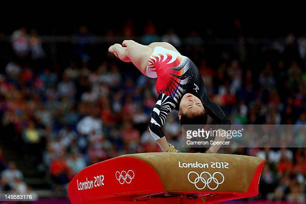Koko Tsurumi of Japan competes on the vault in the Artistic Gymnastics Women's Team final on Day 4 of the London 2012 Olympic Games at North...