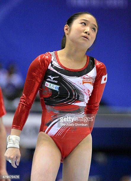 Koko Tsurumi of Japan reacts after falling from the Uneven Bars of the Women's Individual All Around during day seven of the Artistic Gymnastics...
