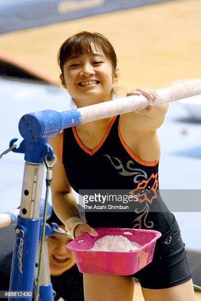 Koko Tsurumi of the Nippon Sport Science University warms up during a training session ahead of the Artistic Gymnastics All Japan Team Championships...