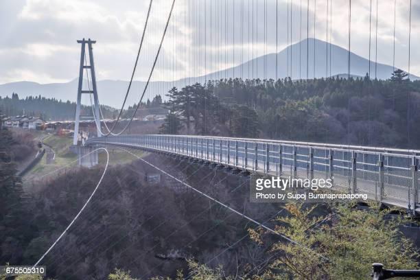 kokonoe yume otsurihashi bridge  (kokonoe-machi,kyushu japan - 大分県 ストックフォトと画像