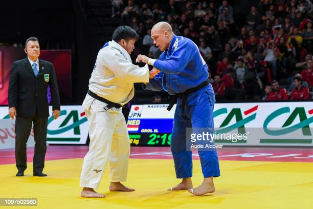 Kokoro Kageura competes against Henk Grol during the Paris Grand Slam at AccorHotels Arena on February 10 2019 in Paris France