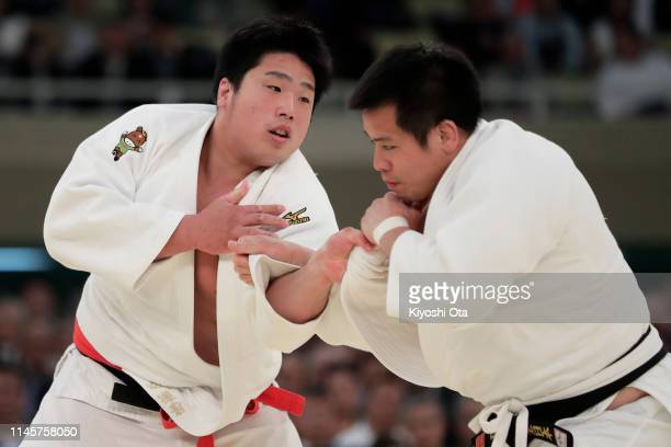 Kokoro Kageura competes against Hirokazu Kageno in the second round match during the All Japan Judo Championship at Nippon Budokan on April 29 2019...