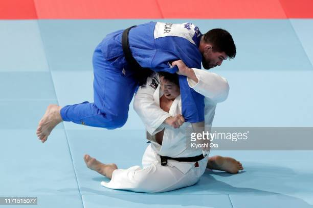 Kokoro Kageura of Japan and Cyrille Maret of France compete in the Men's 90kg of the Mixed Team final between Japan and France on day eight of the...