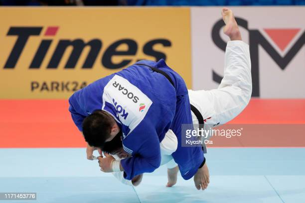 Kokoro Kageura of Japan and Kim Minjong of South Korea compete in the Men's 90kg for the Mixed Team Competition quarterfinal between Japan and South...