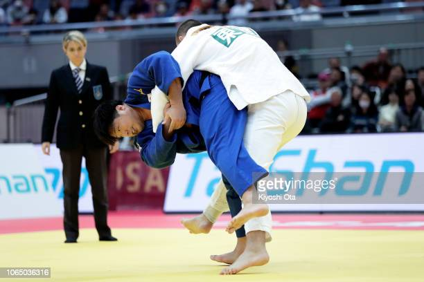 Kokoro Kageura of Japan competes against Lukas Krpalek of the Czech Republic in the Men's 100kg semifinal match on day three of the Grand Slam Osaka...