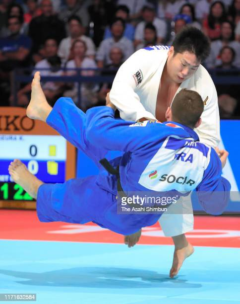 Kokoro Kageura of Japan throws Cyrille Maret of France in the Men's 90kg of the Mixed Team final between Japan and France on day eight of the World...