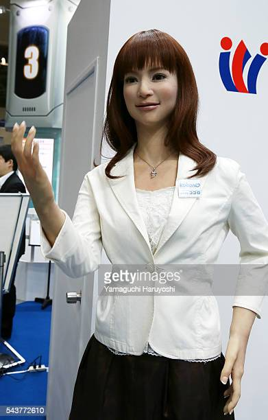 Kokoro the Actroid humanoid robot draws visitors attentions during the International Robot Exhibition started in Tokyo on Wednesday December 2 2015...