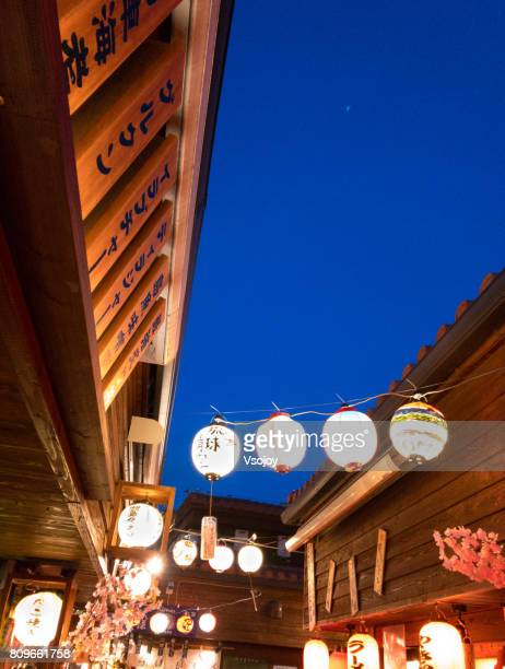 kokusai street food village, naha, okinawa, japan - vsojoy stock pictures, royalty-free photos & images