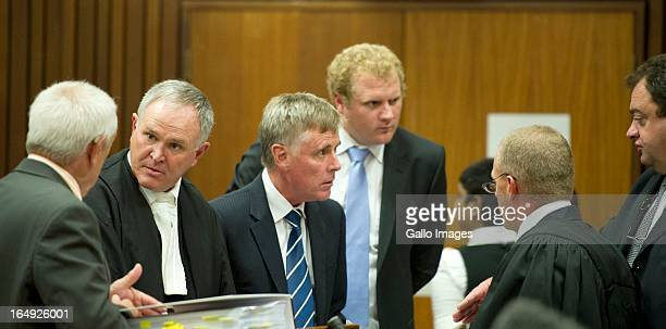 Kol Botha, Advocate Barry Roux, Brian Webber, Andrew Fawcett, Advocate Andrea Johnson, Advocate Gerrie Nel and captain Mike van Aardt during Oscar...