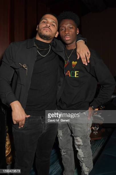 Kola Bokinni and Sheyi Cole attend the NME Awards after party in association with Copper Dog at The Standard on February 12 2020 in London England