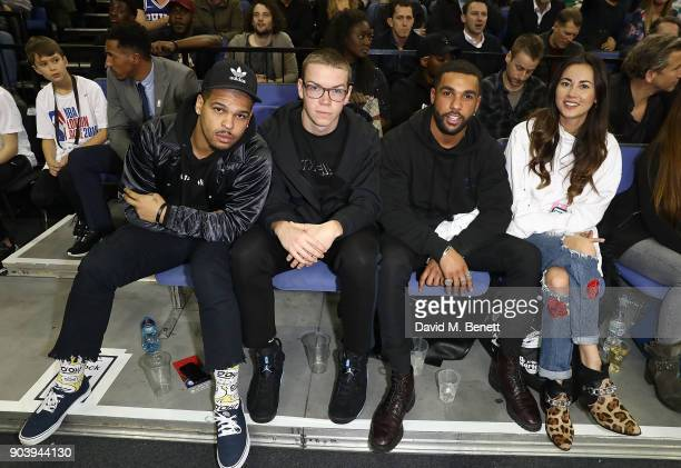 Kola Bokinni Will Poulter Lucien Laviscount and Ana Tanaka attend the Philadelphia 76ers and Boston Celtics London game at The O2 Arena on January 11...