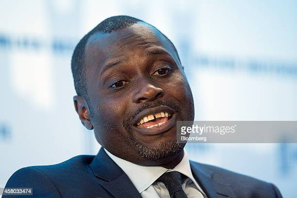 Kola Karim chief executive officer of Shoreline Natural Resources Ltd a Nigerian oil company speaks during the Milken Institute London summit in...