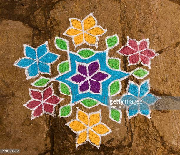 kolam decoration for pongal festival - rangoli stock pictures, royalty-free photos & images