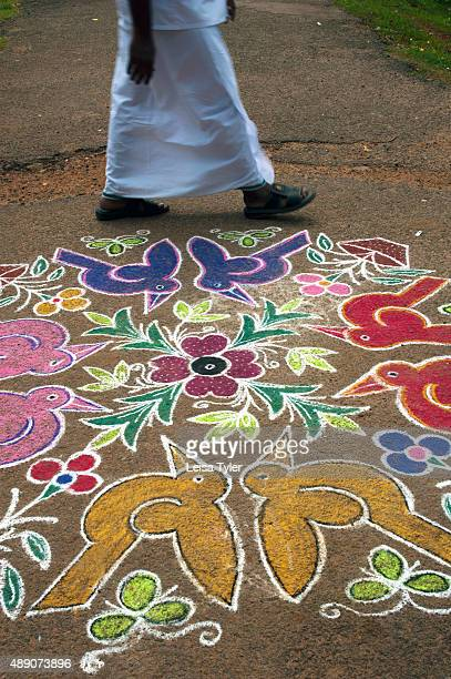A kolam or street painting in Kanadukathan village in Chettinad India