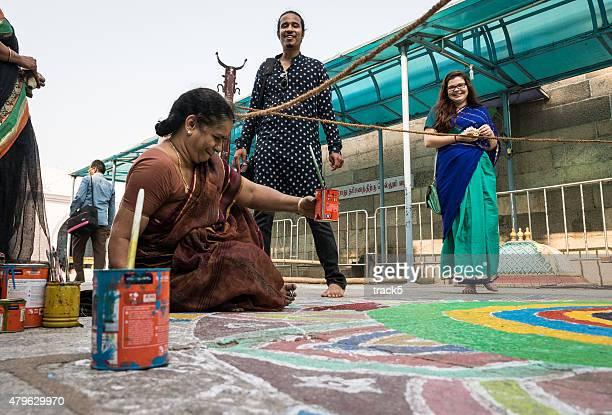 Kolam painting, Tamil Nadu, India