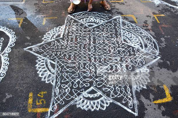 kolam - indian female feet stock pictures, royalty-free photos & images