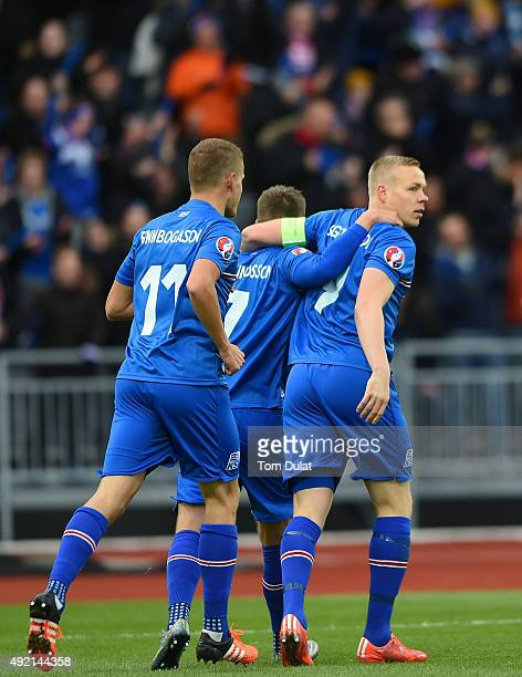 Kolbeinn Sightorsson of Iceland celebrates scoring the opening goal during the UEFA EURO 2016 Qualifier match between Iceland and Latvia at...